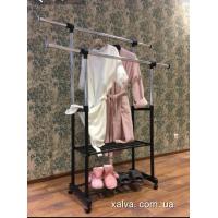 Вешалка стойка держатель для одежды двойной с двумя полками